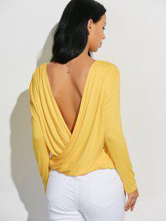 Long Sleeve Draped Back T-Shirt - Yellow L