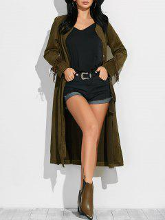 Fringe Suede Maxi Coat - Army Green M