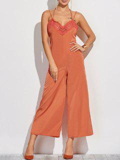 Back Cutout Cami Jumpsuit - Orange S