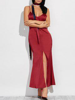 Cami High Furcal Maxi Dress - Wine Red S