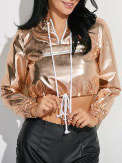 Metallic Color Pullover Hoodie - Champagne S