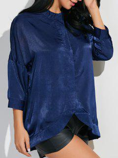 3/4 Sleeve Stand Neck Shirt - Cadetblue S