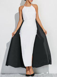 Two Tone High Slit Maxi Dress - White And Black L