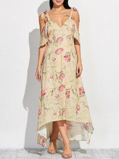 Cold Shoulder Maxi Floral Dress - Floral S