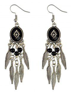 Bohemian Fringe Leaf Beads Chandelier Earrings - Black