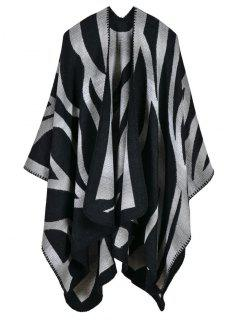 Camo Printed Double Side Scarf Pashmina Poncho - Black