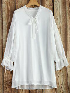 Robe Long Mousseline Col Cravate Manches  - Blanc S
