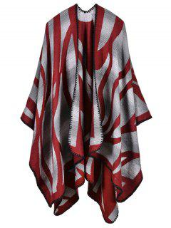 Camo Printed Double Side Scarf Pashmina Poncho - Red