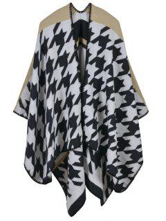 Plover Plaid Printed Scarf Pashmina Poncho - Beige
