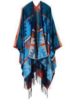 Ethnic Open Front Geometry Tassel Poncho Pashmina - Blue