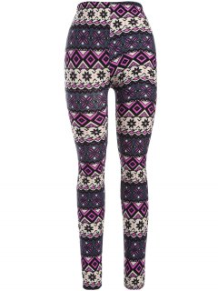 Printed Thermal Leggings - Purple