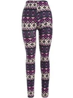 Printed Thermal Leggings - Purple