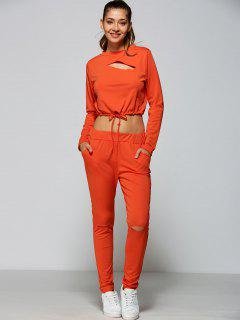 Ripped Cropped Sweatshirt And High Waisted Ripped Pants - Orange Red S
