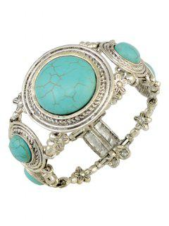 Round Faux Turquoise Bracelet - Turquoise Green