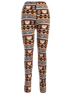 Printed Christmas Nordic Leggings - Orange