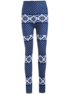 Curvy Snowflake Print Leggings - Blue