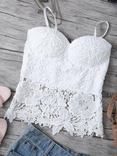 Débardeur Cami En Crochet En Dentelle  - Blanc S