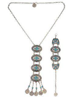 Hollowed Oval Jewelry Set - Blue