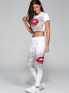Mouth Lips Crop Top + Cheetah Pants Set - White S