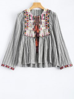 Striped Embroidered Jacket - Stripe M