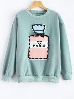 Perfume Bottle Patch Fleece Sweatshirt - Mint Green S