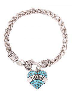 Rhinestone Heart Engraved Love Charm Bracelet - Blue