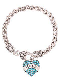 Rhinestone Heart Engraved Hope Charm Bracelet - Blue