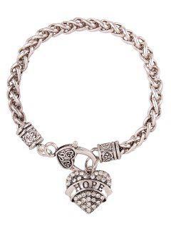 Rhinestone Heart Engraved Hope Charm Bracelet - White