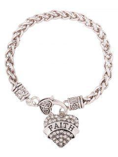 Bracelet En Faux Diamant Avec Cœur Gravé Faith - Blanc