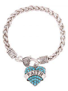 Rhinestone Heart Engraved Faith Charm Bracelet - Blue