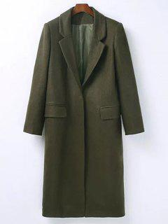 Wool Blend Masculine Coat - Army Green M