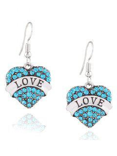 Engraved Love Rhinestone Heart Drop Earrings - Blue