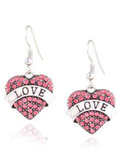Engraved Love Rhinestone Heart Drop Earrings - Pink