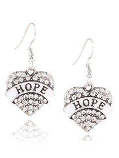 Engraved Hope Rhinestone Heart Drop Earrings - White