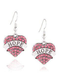 Engraved Hope Rhinestone Heart Drop Earrings - Pink