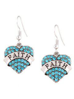 Engraved Faith Rhinestone Heart Drop Earrings - Blue