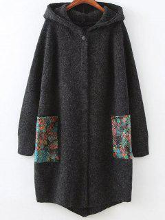 Patch Pocket Hooded Oversized Cardigan - Deep Gray