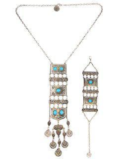 Collier à Pendentif Géométrique Et Bracelet De Style Bohémien - Turquoise