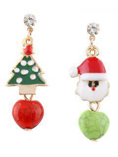 Boucles D'oreilles Asymétrique Strass En Forme D'Arbre De Noël Et Père Noël