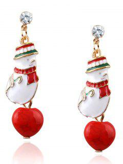 Rhinestone Snowman Christmas Earrings - Red
