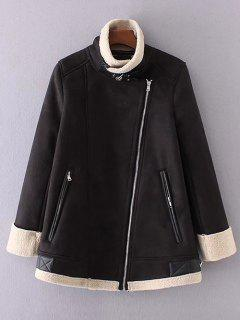 Fleece Lining Faux Suede Funnel Coat - Black L