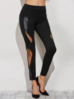 Mesh Spliced Narrow Feet Pants - Black Xs