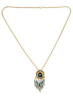 Hexagon Oval Necklace - Deep Blue