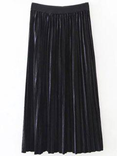 Pleated Velvet Skirt - Black