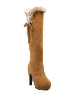 Zipper Platform Faux Fur Knee-High Boots - Light Brown 39