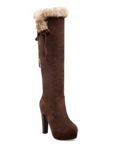 Zipper Platform Faux Fur Knee-High Boots - Deep Brown 38