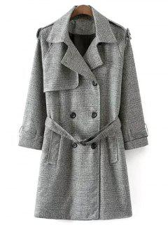 Double Breasted Houndstooth Coat - White And Black S