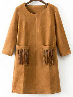 Fringed Pockets Faux Suede Dress - Earthy S
