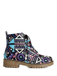 Patchwork Flat Heel Tie Up Ankle Boots - Lake Blue 38