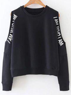 Cold Shoulder Text Print Sweatshirt - Black S